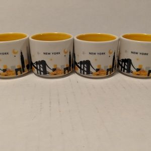 4 Starbucks Espresso Collectors Mugs